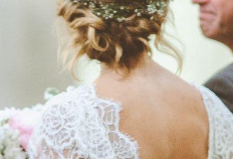 floral crown + lace dress