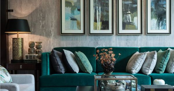 Decorating with emerald and blue topaz green velvet sofa - Grey and emerald green living room ...