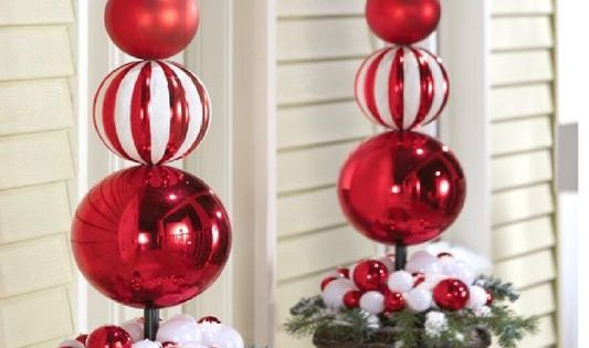 New set/2 extra large christmas ornament holiday finial ...