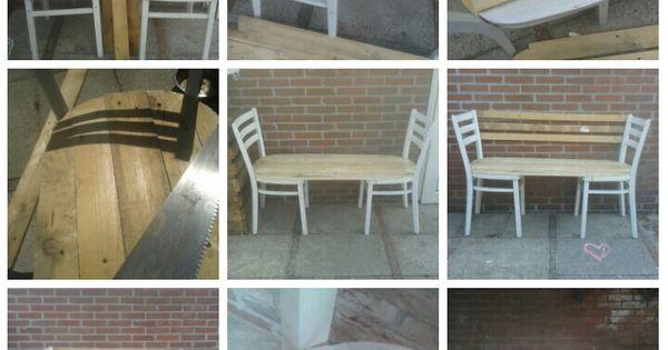 2 houten stoelen en wat pallethout om een bankje te maken huis mooimakers pinterest - Houten stoelen om te eten ...