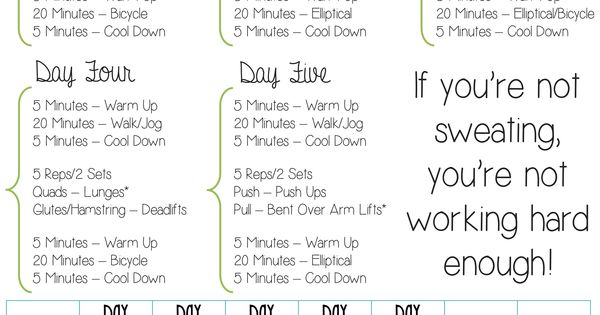 Monthly Fitness Plan For Beginners This Is A Four Week That I Customized My Sister To Print Out