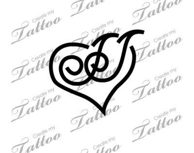 intertwined letter js custom tattoo intertwined js