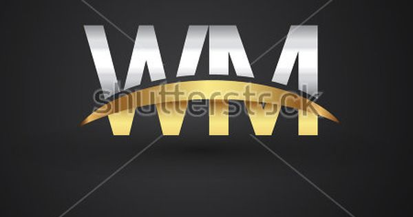Wm Initial Logo Company Name Colored Gold And Silver Swoosh Design