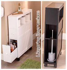 Rolling Slim Bathroom Storage Organizer 2 Drawers Toilet Paper