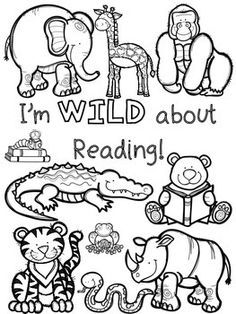 Wild About School Coloring Pages And Bookmarks Reading Themes