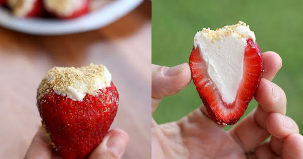 Cheesecake Stuffed Strawberries: strawberries + 8 oz softened cream cheese + 3-4