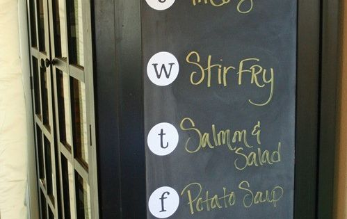 Weekly Menu board. Chalk board paint, and this could even be inside