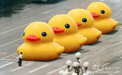 Tiananmen Tank Man Parody A Photoshopped Version Of The Giant Rubber Duck Has Gone Viral And Was Then Censored On Chinese Micro Rubber Duck Duck Yellow Duck