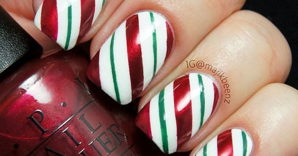 Nails / Nailart - Yummy candy cane stripes for Christmas. All OPI