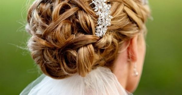 Bridal Updo With Jeweled Comb Love Having The Veil