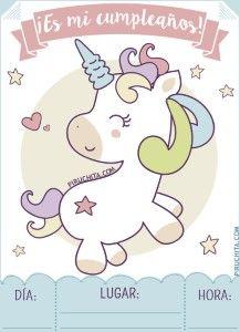Invitación De Cumpleaños De Unicornios Gratis Para Imprimir