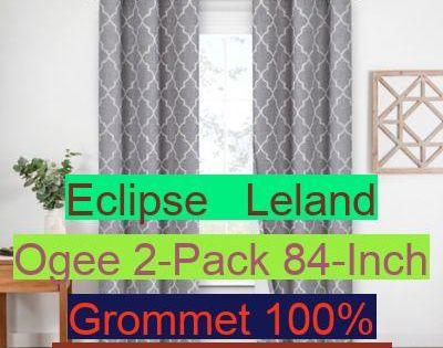 Eclipse Leland Ogee 2-Pack 84-Inch Grommet 100/% Blackout Window Curtain Panels.