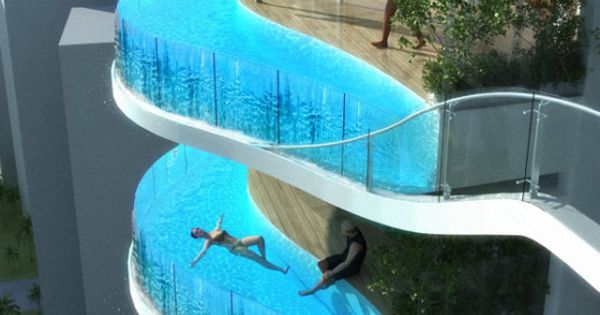 It might be interesting to have clear wall swimming pool attached to