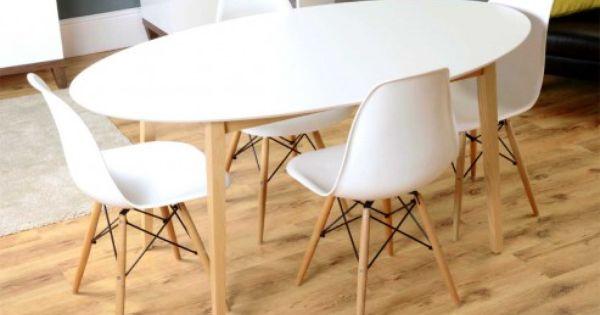 Tretton Retro White Top Oval Dining Table And 4x Eames White