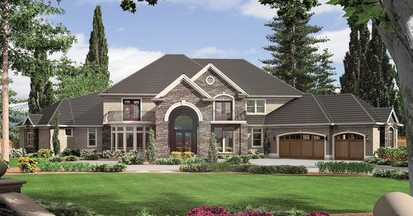 Front View 6500 Square Foot European Home House Plans