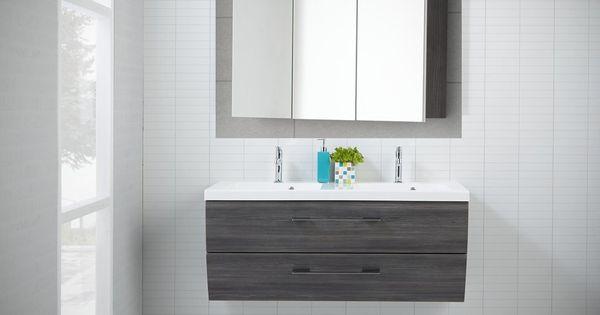 Scanbad Rumba Doppelwaschplatz mit Spiegelschrank 120 cm, Pine - weie badmbel