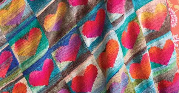 Knitting Fever Noro : Love this heart blanket knit with noro kureyon and