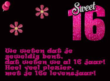 Mooie Verjaardagskaart Sweet Sixteen Verjaardag