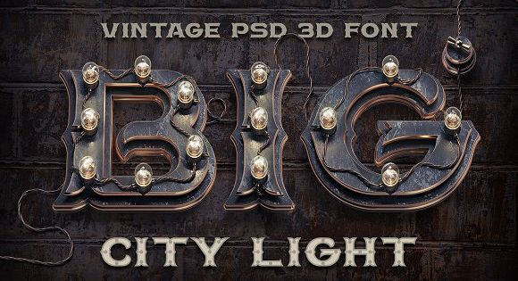 BIG City Light vintage font with highly detailed steampunk style 3d rendered letters