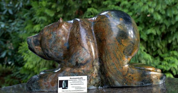 Soapstone sculpture large bear carving stone by sagastone