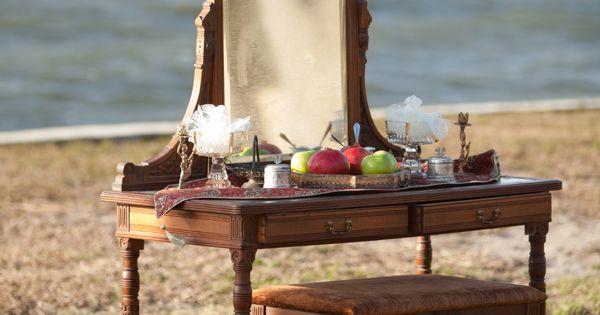 Wedding Ceremony Decor Vanity Furniture Vintage Pomegranate Lime Waterfront Tampa Wedding