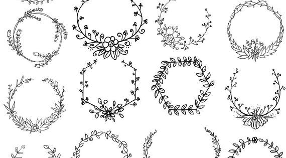 Hand Drawn Wreath Svg And Png Digital Download Wreath File Etsy Wreath Clip Art Wreath Drawing How To Draw Hands