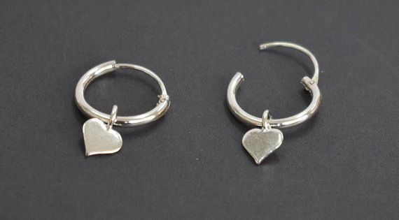 """1//2/"""" unisex simple 10mm 12mm Details about  /Tiny Sterling Silver Reverse Hoop Earrings"""