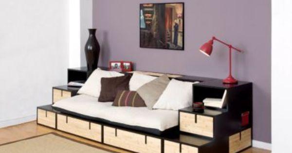 Espace loggia lit mezzanine banquette brick bambou sofa canape meuble contemp - Lit mezzanine et canape ...