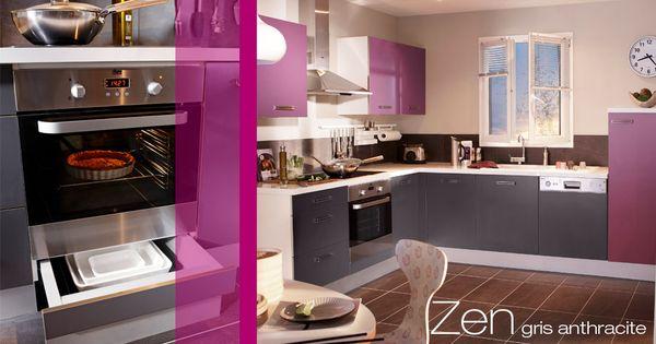 Cuisine zen cuisines en kit lapeyre blanc gris anthracite ou auberg - Cuisine amenagee lapeyre ...