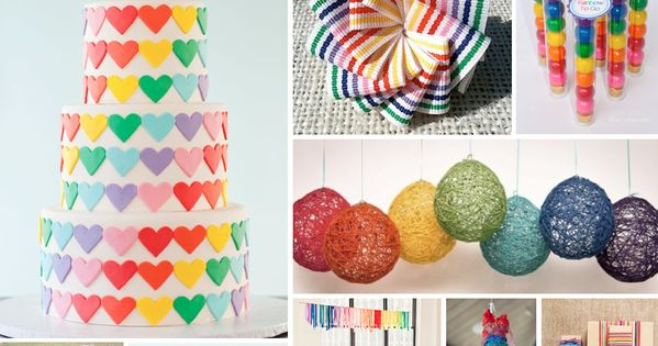 Rainbow party! Hearts, bows, gumballs....Loving all of the colors and cute details.