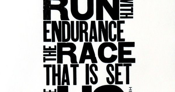 Running Themed Art, Black and White Letterpress Poster, Motivational Print for Runner,