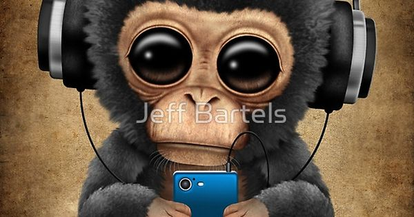 Chimpanzee Dj With Headphones And Cell Phone Jeff