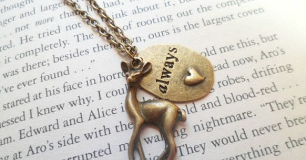 "Harry Potter ""Always"" Severus Snape Bronze Deer Doe Necklace. Necklace is on"