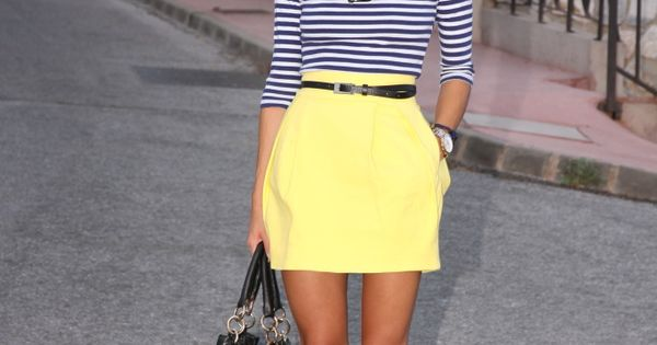 Navy striped shirt and yellow skirt