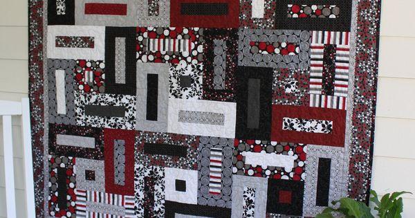 Red Black White Quilt Design Black Gray Red And White