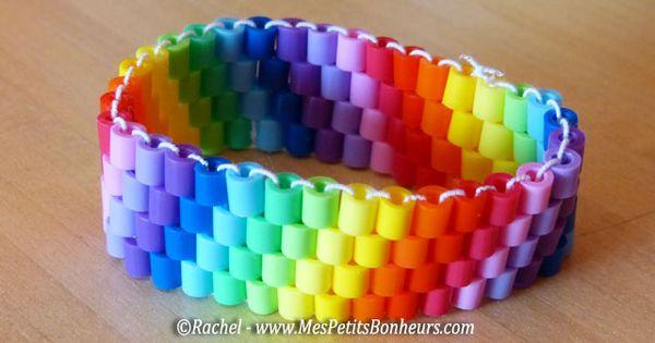 diy bracelet perles hama cousues tiss es en arc en ciel pour la f te des mamans f te des m res. Black Bedroom Furniture Sets. Home Design Ideas