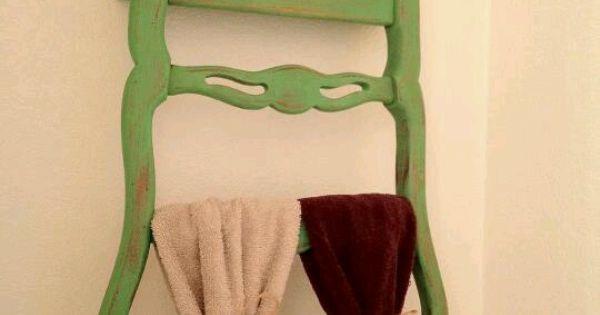 old chair used as towel rack and bathroom shelf diy bathroom pinterest towels old chairs. Black Bedroom Furniture Sets. Home Design Ideas
