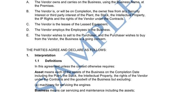 Contract Sample Agreement Templates Business Sale Letter Best