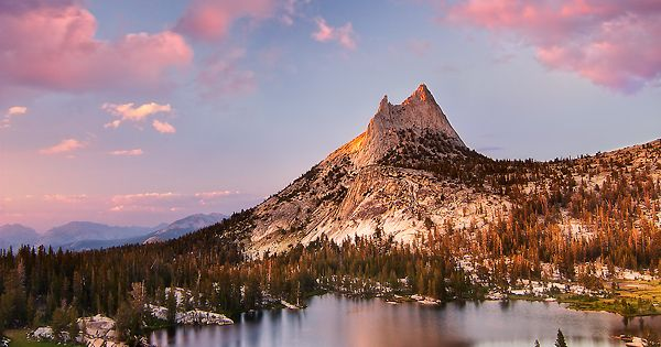 Upper Cathedral Lake, Yosemite National Park, California cotton candy skies