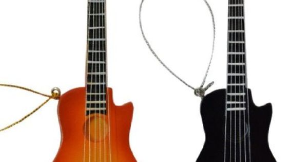 Amazon Com Gift Garden Miniature Acoustic Guitar Christmas Ornament Black And Yellow 5 5inch 2pcs Set Instrument Gifts Guitar Acoustic Guitar