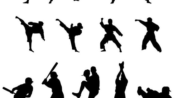 Dynamic Sports Figures Silhouette: 22 Sports Figures Silhouette Vector