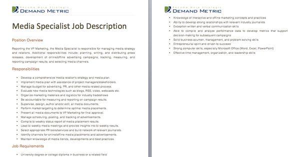 Media Specialist Job Description A Template To Quickly