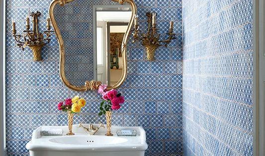 Blue Tiled Powder Room with Gold Accents. So bathroom interior design bathroom
