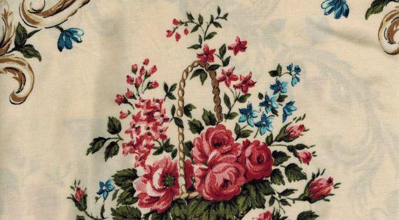Coupon tissu neuf l ger type viscose motif panier de roses for Tissu shabby chic