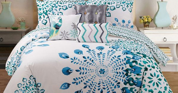 Peacock Comforter King Size: 9 Piece Teal & Blue Peacock Design 100% Cotton King Size