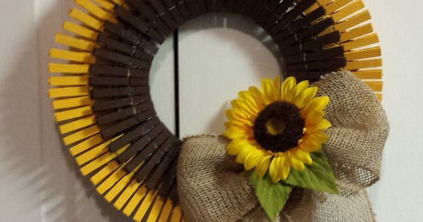 Sunflower Clothespin Wreath Things I Ve Made Pinterest