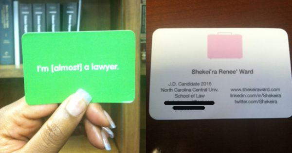 A creative card from a law school student at north for Law school business cards