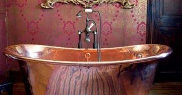 Dramatic bathroom interiordesign decor interior bathtub bath tub mirror copper