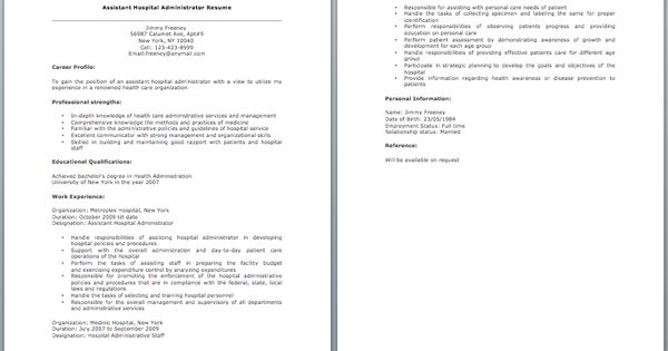Assistant Hospital Administrator Resume resume sample Pinterest - hospital resume