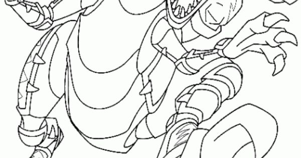 Power Rangers Dino Thunder Rides A Robot Coloring Page